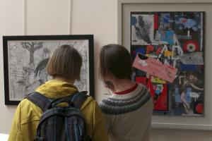 Viewing the art exhibition