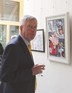 Aberdeenshire Provost, Bill Howatson, admiring the art exhibits
