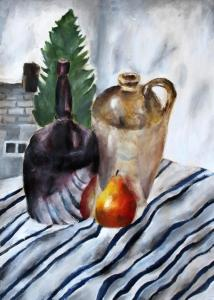 Still Life with Pear and Stripey Fabric